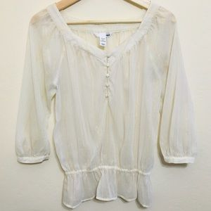 3/$15 H&M sheer off white peasant top with stripes